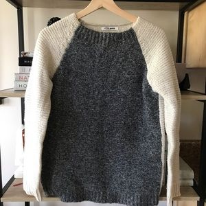 🌿 lambswool vintage two tone chunky knit sweater